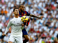 """Spanish  League""- match Real Madrid Vs FC Barcelona- season 2014-15 - Santiago Bernabeu Stadium - Cristiano Ronaldo (Real Madrid) and Dani Alves (FC Barcelona) in action during the Spanish League match(Photo: Guillermo Martinez / Bohza Press / Alter Photos)"