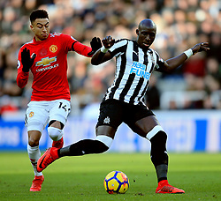 Jesse Lingard of Manchester United challenges Mohamed Diame of Newcastle United - Mandatory by-line: Matt McNulty/JMP - 11/02/2018 - FOOTBALL - St James Park - Newcastle upon Tyne, England - Newcastle United v Manchester United - Premier League