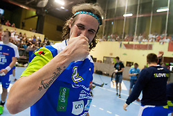 Dean Bombac #2 of Slovenia after handball match between National teams of Slovenia and Hungary in play off of 2015 Men's World Championship Qualifications on June 15, 2014 in Rdeca dvorana, Velenje, Slovenia. Photo by Urban Urbanc / Sportida