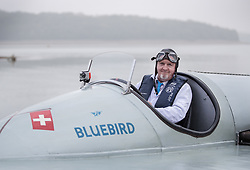 © Licensed to London News Pictures. 26/09/2017. Bewl Water, UK. Karl Foulkes Halbard pilots the fully restored Blue Bird K3 as it is lowered onto Bewl Water ahead of a test run. Built in 1937 for Sir Malcolm Campbell, the K3 achieved three world water speed records in 1937-8 attaining a speed of 130.91mph. Blue Bird K3 has undergone an extensive restoration and is part of the Foulkes Halbard Collection at Filching Manor Motor Museum near Eastbourne. Photo credit: Peter Macdiarmid/LNP