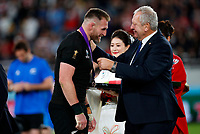 Rugby Union - 2019 Rugby World Cup - Bronze Final (Third Place Play-Off): Wales vs. France<br /> <br /> Kieran Read of New Zealand with Bill Beaumont at Tokyo Stadium, Tokyo.<br /> <br /> COLORSPORT/LYNNE CAMERON