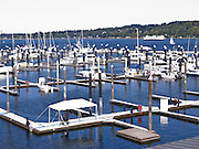 A nearly empty municipal marina in Bremerton, WA, USA is an indication of poor economic times.