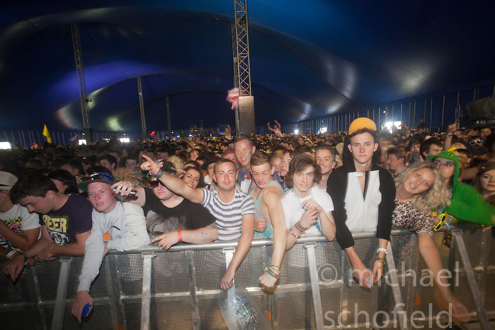 Fans as Labrinth plays the King Tuts Wah Wah tent. Friday at T in the Park 2012, held at Balado, in Fife, Scotland..