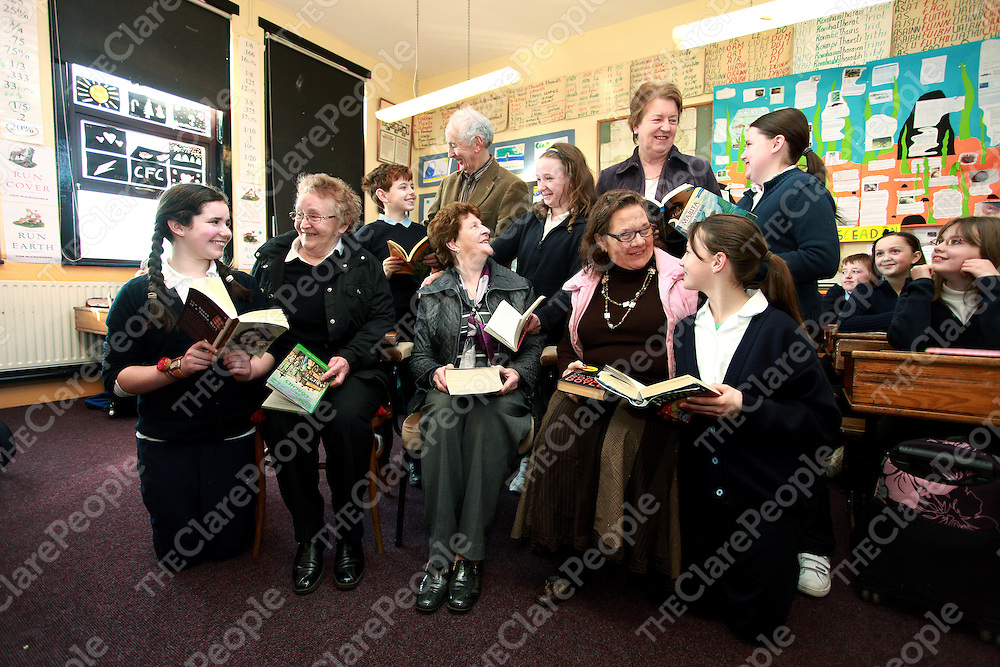 Elizabeth Conneely, Sean Kelly, Bridget McCarthy, Mary Stackpoole and Mary Lehane visiting their grandchildren Suzanne Conneely, Ben Daniels, Elaine Shannon, Jessica O' Donoghue and Aoife Lehane in Lahinch National School to mark World Book Day and Grandparents Day on Thursday.<br /> Photograph by Yvonne Vaughan