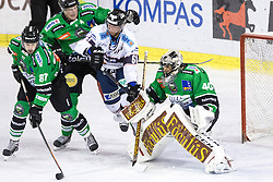 14.12.2014, Hala Tivoli, Ljubljana, SLO, EBEL, HDD Telemach Olimpija Ljubljana vs Fehervar AV19, 27. Runde, in picture Daniel Koger (Fehervar AV19, #61) vs Andy Chiodo (HDD Telemach Olimpija, #40) during the Erste Bank Icehockey League 27. Round between HDD Telemach Olimpija Ljubljana and Fehervar AV19 at the Hala Tivoli, Ljubljana, Slovenia on 2014/12/14. Photo by Matic Klansek Velej / Sportida