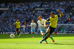 Curtis Nelson of Oxford United passes back under pressure - Photo mandatory by-line: Jason Brown/JMP -  02/04//2017 - SPORT - Football - London - Wembley Stadium - Coventry City v Oxford United - Checkatrade Trophy Final