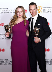 Jodie Comer and Benedict Cumberbatch in the press room during the Virgin Media BAFTA TV awards, held at the Royal Festival Hall in London. Photo credit should read: Doug Peters/EMPICS