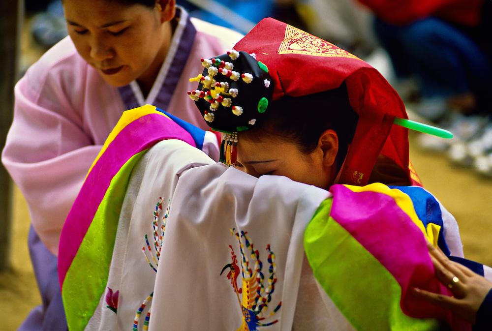 Korean bride, traditional wedding ceremony, Korean Folk Village, near Suwon, South Korea