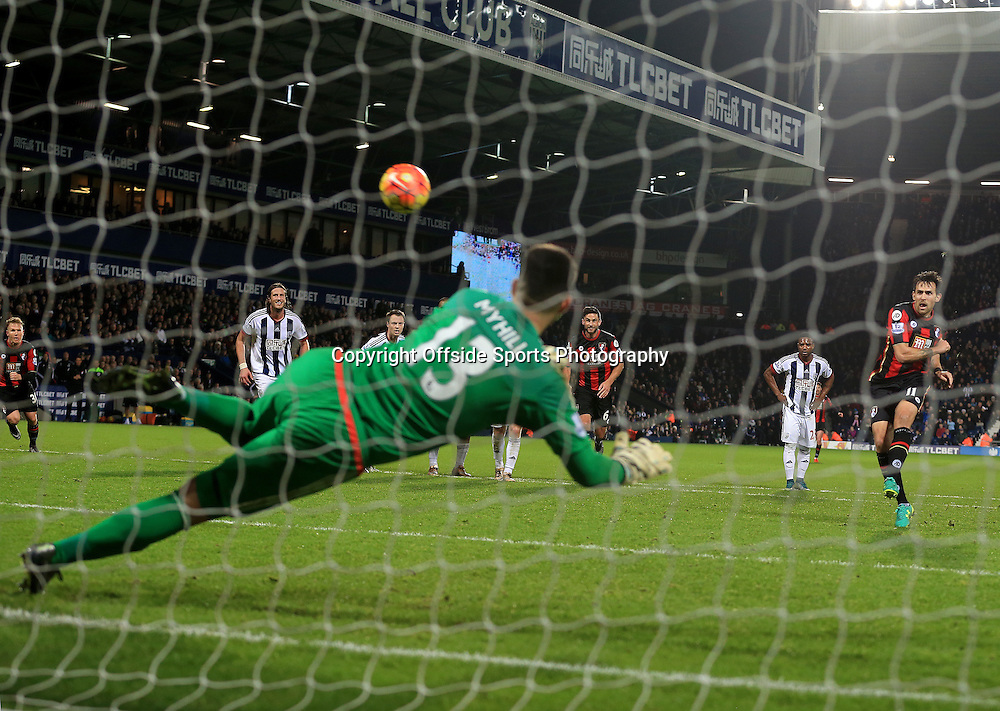 19th December 2015 - Barclays Premier League - West Bromwich Albion v AFC Bournemouth - Charlie Daniels of AFC Bournemouth scores from the penalty spot (1-2) - Photo: Paul Roberts / Offside.