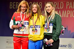 T13 100m Medalists.  From left Carolina Duarte, POR, Silver, Leilia Adzhametova, UKR, Gold, Orla Comerford, IRE, Bronze