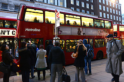 Tube Strike. Bus passengers wait at Marble Arch tube station. Marble Arch, London, United Kingdom. Wednesday, 5th February 2014. Picture by Peter Kollanyi / i-Images