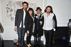 Left to right, IDRIS KHAN, ANNIE MORRIS, RAQIB SHAW and ADAM WAYMOUTH at a private view of art works by Annie Morris entitled 'There is A Land Called Loss' held at Pertwee Anderson & Gold Gallery, 15 Bateman Street, London W1 on 2nd February 2012.