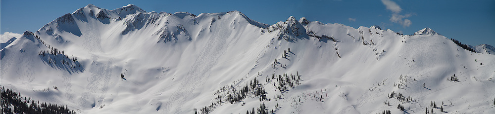 Ski tracks from backcountry skiers, Cardiff Fork, Wasatch Range, Utah
