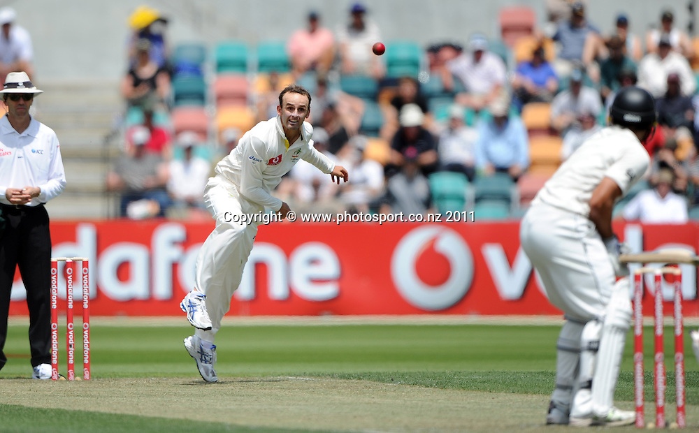 Australian spin bowler Nathan Lyon on Day 1 of the second cricket test between Australia and New Zealand Black Caps at Bellerive Oval in Hobart, Friday 9 December 2011. Photo: Andrew Cornaga/Photosport.co.nz