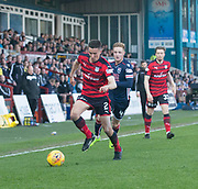 8th May 2018, Global Energy Stadium, Dingwall, Scotland; Scottish Premiership football, Ross County versus Dundee; Cammy Kerr of Dundee races away from Davis Keillor-Dunn of Ross County