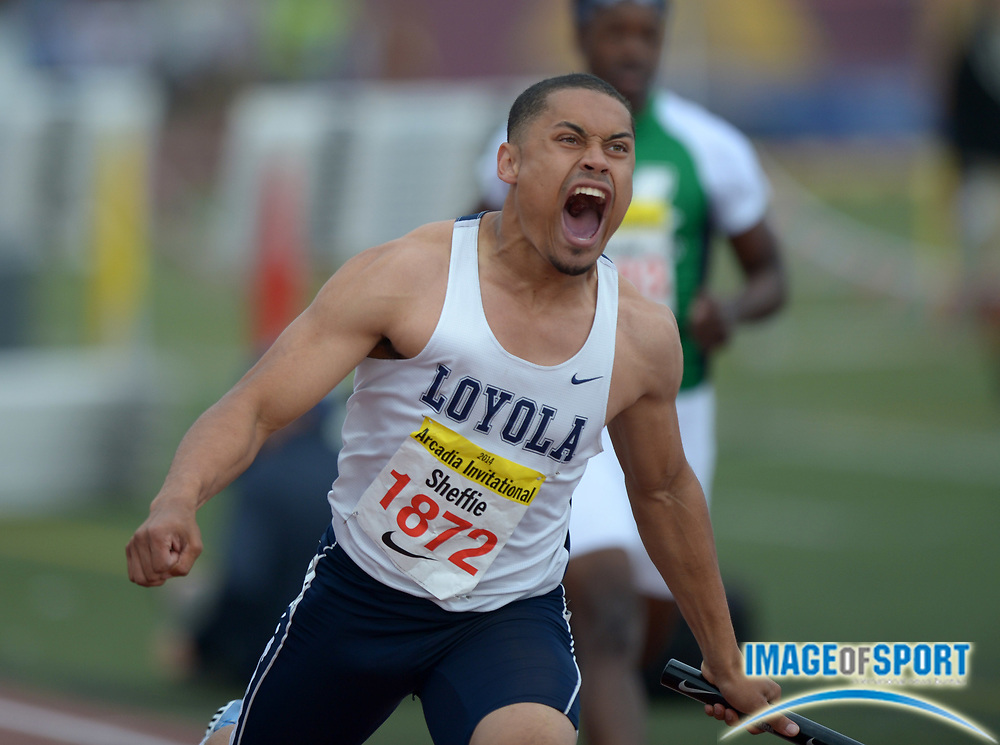 Apr 12, 2014; Arcadia, CA, USA; Mekai Sheffie of Loyola celebrates after running the anchor leg on the 4 x 100 relay that won in 41.69 in the 47th Arcadia Invitational at Arcadia High.