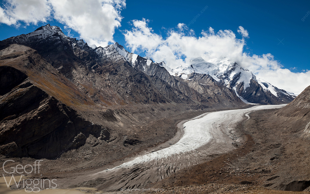 The Drang-Drung Glacier near the Pensi La mountain pass in the Kargil district of Jammu and Kashmir in India