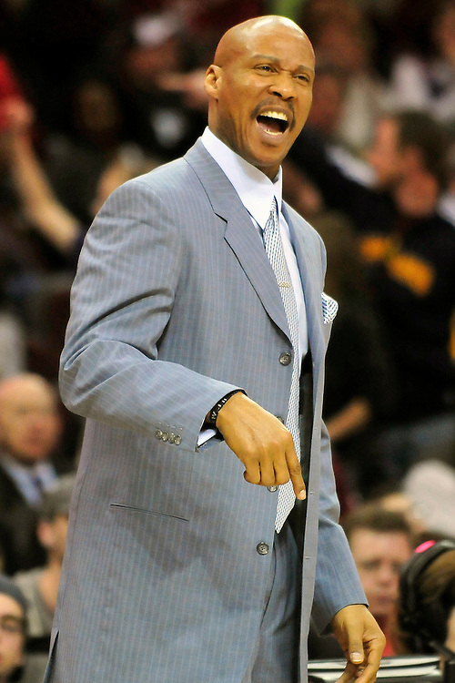 April 13, 2011; Cleveland, OH, USA; Cleveland Cavaliers head coach Byron Scott yells to his players during the fourth quarter against the Washington Wizards at Quicken Loans Arena. The Cavaliers beat the Wizards 100-93. Mandatory Credit: Jason Miller-US PRESSWIRE
