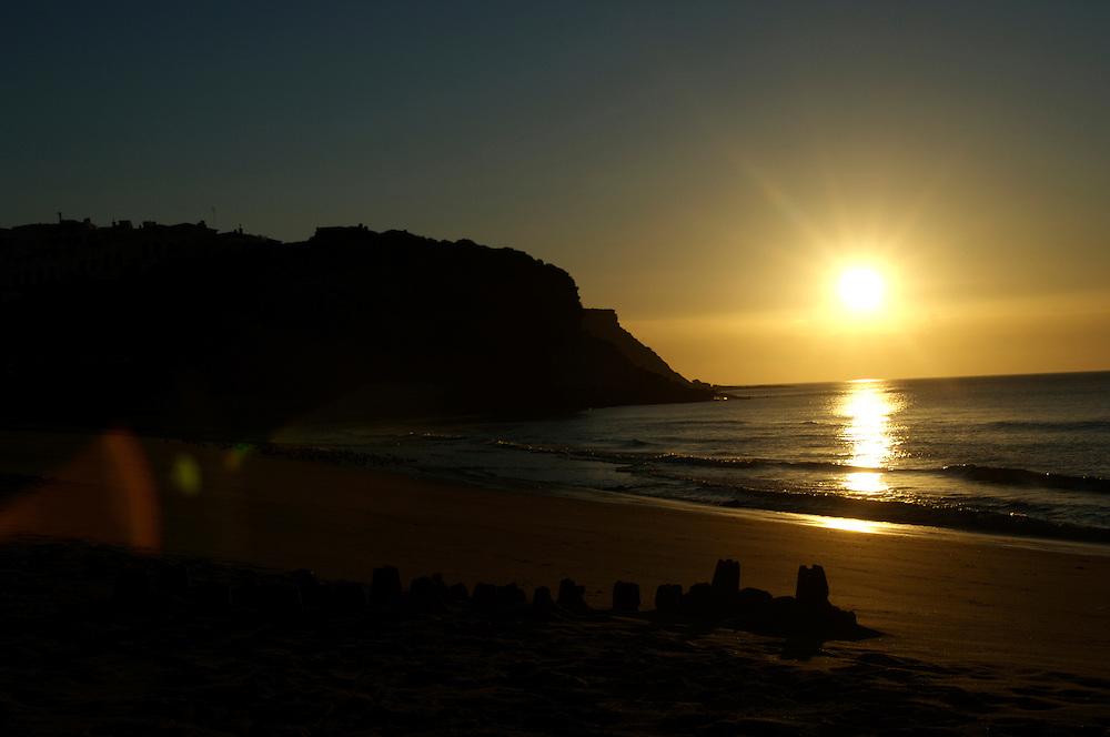Sunrise over the beach at Bergau, Algarve, Portugal