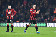 Substitution - Goal scorer Harry Wilson (22) of AFC Bournemouth applauds the fans as he walks off and is replaced by Lewis Cook (16) of AFC Bournemouth during the Premier League match between Bournemouth and Brighton and Hove Albion at the Vitality Stadium, Bournemouth, England on 21 January 2020.
