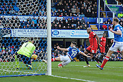 Portsmouth Forward, Conor Chaplin (19) goes close sliding in on goal during the EFL Sky Bet League 2 match between Portsmouth and Leyton Orient at Fratton Park, Portsmouth, England on 14 January 2017. Photo by Adam Rivers.