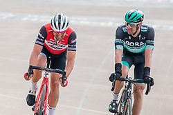 John Degenkolb (GER) of Trek - Segafredo and Marcus Burghardt (GER) of BORA - hansgrohe during the 2019 Paris-Roubaix (1.UWT) with 257 km racing from Compiègne to Roubaix, France. 14th april 2019. Picture: Pim Nijland | Peloton Photos  <br /> <br /> All photos usage must carry mandatory copyright credit (Peloton Photos | Pim Nijland)