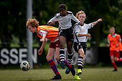 Shanun #14 of VV Maarssen , Mink #11 of VV Maarssen in action. VV Maarssen O14-1 played a friendly game against CDW O15-2. Maarssen won 9-2 on July 11, 2020 at Daalseweide sports park Maarssen.
