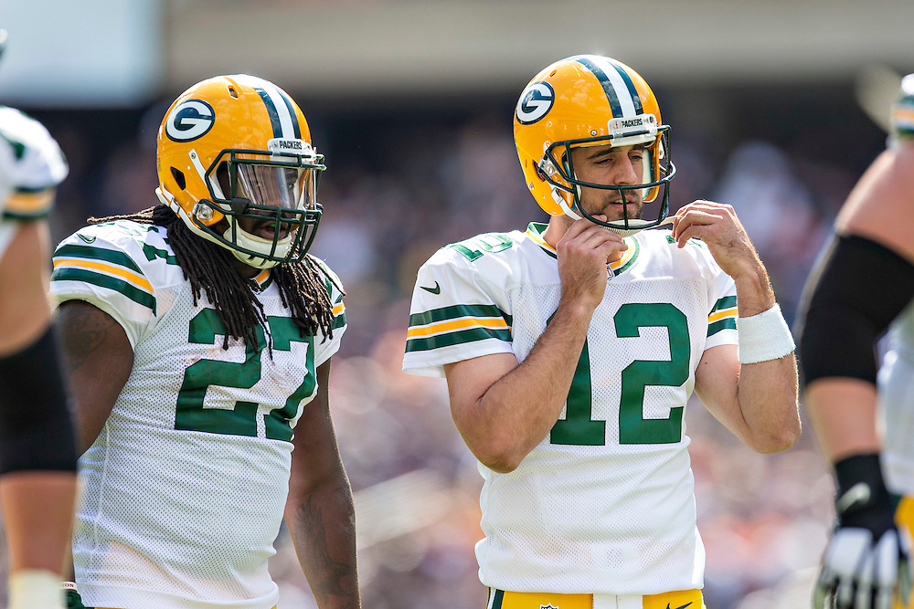 CHICAGO, IL - SEPTEMBER 13:  Aaron Rodgers #12 and Eddie Lacy #27 of the Green Bay Packers in the huddle during a game against the Chicago Bears at Soldier Field on September 13, 2015 in Chicago, Illinois.  The Packers defeated the Bears 31-23.  (Photo by Wesley Hitt/Getty Images) *** Local Caption *** Aaron Rodgers; Eddie Lacy