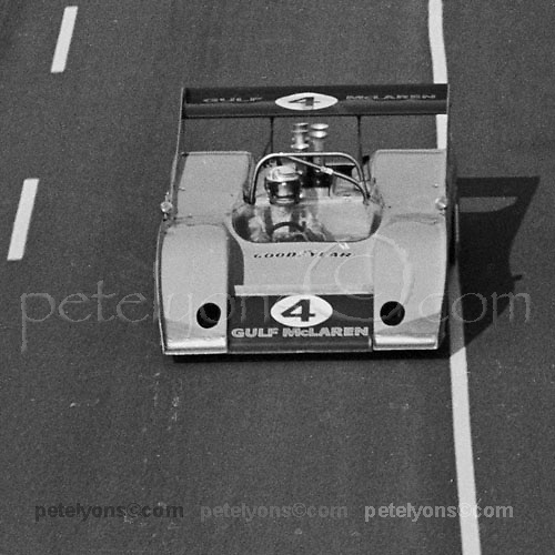 Peter Revson's McLaren M20 in 1972 Can-Am at Riverside; Photo by Gerald Schmitt 1972/ © 2014 Pete Lyons / petelyons.com;