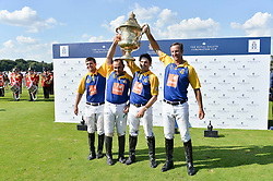 The victorious Commonwealth team at The Royal Salute Coronation Cup Polo held at Guards Polo Club,  Smiths Lawn, Windsor Great Park, Egham on 23rd July 2016.