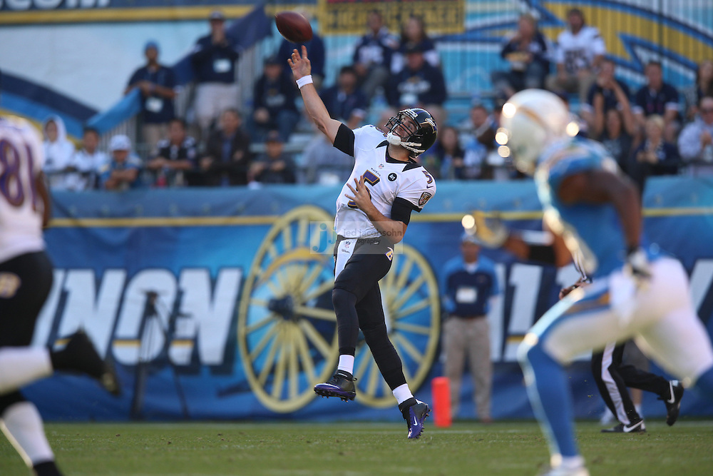 Baltimore Ravens quarterback Joe Flacco (5) in action against the San Diego Chargers during an NFL game on Sunday, November 25, 2012 in San Diego, CA.  (Photo by Jed Jacobsohn)