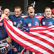 Winter Olympics, Vancouver, 2010.The USA-1 team of, from left,  Steven Holcomb, Justin Olsen, Steve Mesler and Curtis Tomasezicz win the Gold Medal in the Bobsleigh Four-man at The Whistler Sliding Centre, Whistler, during the Vancouver Winter Olympics. 27th February 2010. Photo Tim Clayton