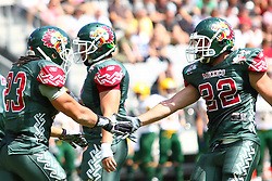 10.07.2011, Tivoli Stadion, Innsbruck, AUT, American Football WM 2011, Group A, Mexico (MEX) vs Australia (AUS), im Bild Reyes José (Mexico, #22, RB) congratulates Barrera Jonathan alejandro (Mexico, #23, RB)  // during the American Football World Championship 2011 Group A game, Mexico vs Australia, at Tivoli Stadion, Innsbruck, 2011-07-10, EXPA Pictures © 2011, PhotoCredit: EXPA/ T. Haumer