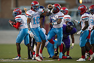 Greg Lofton (10) of the Carter Cowboys celebrates after recovering a fumble against the Lincoln Tigers during a high school football game at Forester Stadium in Dallas, Texas on September 18, 2015. (Cooper Neill/Special Contributor)