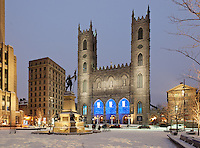 Picture of Place D'armes and Basilique Notre-Dame church in Old Montreal taken at dusk in winter, Quebec, Canada