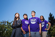 From left to right, ASB staff Chloe Lam, Leanne Aban, Germain Louie, and Natasha Gangal pose for a portrait in the Library at Milpitas High School in Milpitas, California, on May 15, 2015. (Stan Olszewski/SOSKIphoto)