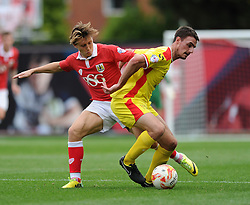 Bristol City's Luke Freeman challenges Milton Keynes Dons' Darren Potter - Photo mandatory by-line: Dougie Allward/JMP - Mobile: 07966 386802 - 27/09/2014 - SPORT - Football - Bristol - Ashton Gate - Bristol City v MK Dons - Sky Bet League One