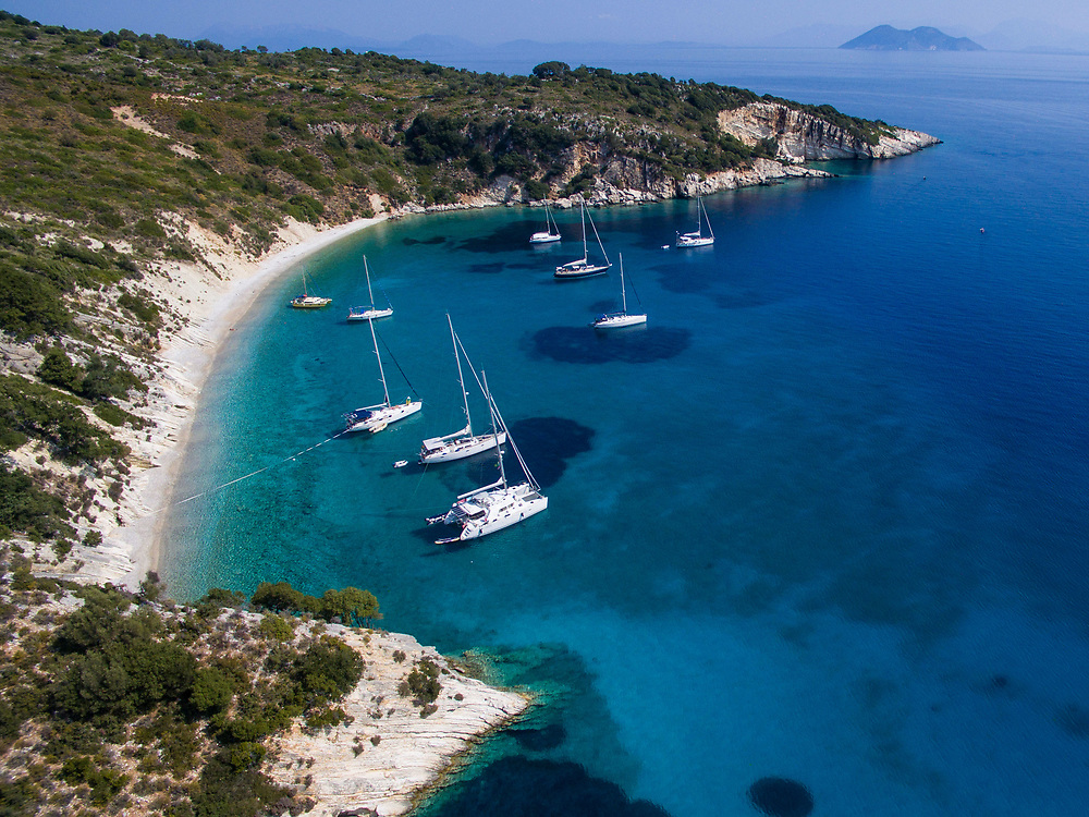 Aerial drone images of Filiatro beach, Ithaca island, Greece