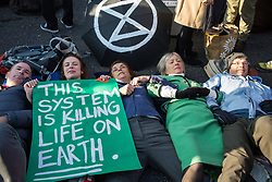 London, UK. 17th November, 2018. Environmental campaigners from Extinction Rebellion lie down in the road to block Lambeth Bridge, one of five bridges blocked in central London, as part of a Rebellion Day event to highlight 'criminal inaction in the face of climate change catastrophe and ecological collapse' by the UK Government as part of a programme of civil disobedience during which scores of campaigners have been arrested.