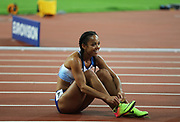 Catarina Johnson-Thompson during heptathlon, after 200m at the IAAF World Championships at the London Stadium, London, England on 6 August 2017. Photo by Myriam Cawston.