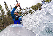 Darius Ramrattan paddles through the slalom course on the Kananaskis River just outside Calgary, Alta. on April 23, 2016. In August 2015 Ramrattan fell off a mountain while hiking with friends near Canmore, Alta. He broke his pelvis, femur, and shattered his heel. At 17, Ramrattan was a talented athleted his fall and as he relearned to walk, he also wanted to know when he could get back in a kayak.<br /> On March 5, he paddled whitewater for the first time since August. He is now training for junior national slalom kayak team trials, to be held in May on his home course, the Kananaskis River. Here he hopes to defend his spot on the national team and book his ticket to the whitewater slalom junior world championships in Krakow, Poland later this year.