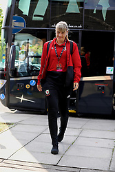 NEWPORT, WALES - Tuesday, June 12, 2018: Wales' Gemma Evans arrives before the FIFA Women's World Cup 2019 Qualifying Round Group 1 match between Wales and Russia at Newport Stadium. (Pic by David Rawcliffe/Propaganda)