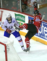 Henrik Odegaard of Norway and Rick Nash of Canada at play-off round quarterfinals ice-hockey game Norway vs Canada at IIHF WC 2008 in Halifax,  on May 14, 2008 in Metro Center, Halifax, Nova Scotia,Canada. (Photo by Vid Ponikvar / Sportal Images)