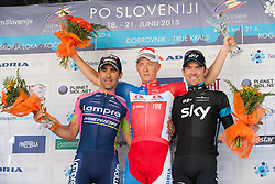 Winner KUMP Marko (Slovenia) of Adria Mobil, second RICHEZE Ariel Maximiliano (Argentina) of Team Lampre - Merida and third SUTTON Christopher (Australia) of Team Sky during Trophy ceremony after the Stage 4 of 22nd Tour of Slovenia 2015 from Rogaska Slatina to Novo mesto (165,5 km) cycling race on June 21, 2015 in Slovenia. Photo by Ziga Zupan / Sportida