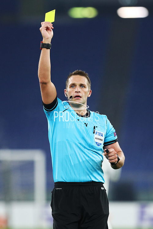 Referee Craig Leigh Pawson shows the yellow card during the UEFA Europa League, Group J football match between AS Roma and Wolfsberg AC on December 12, 2019 at Stadio Olimpico in Rome, Italy - Photo Federico Proietti / ProSportsImages / DPPI