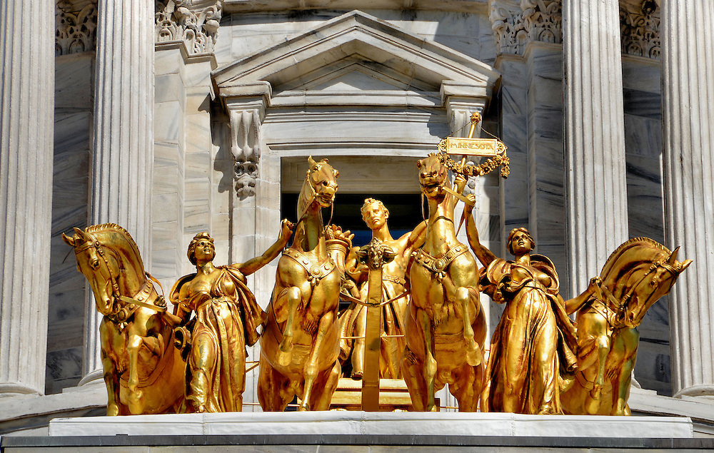 Gilded Quadriga at Minnesota State Capitol in Saint Paul, Minnesota<br />
