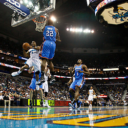 January 24,  2011; New Orleans, LA, USA; New Orleans Hornets guard Marcus Thornton (5) shoots  over Oklahoma City Thunder forward Jeff Green (22) during the first half at the New Orleans Arena. The Hornets defeated the Thunder 91-89. Mandatory Credit: Derick E. Hingle
