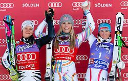 22.10.2011, Rettenbachferner, Soelden, AUT, FIS World Cup Ski Alpin, Damen, Riesenslalom, im Bild Podium v.l. Platz 2 Viktoria Rebensburg (GER), Platz 1 Lindsey Vonn (USA) und Platz 3 Elisabeth Goergl (AUT) // during Ladies ginat Slalom at FIS Worldcup Ski Alpin at the Rettenbachferner in Solden on 22/10/2011. EXPA Pictures © 2011, PhotoCredit: EXPA/ Johann Groder