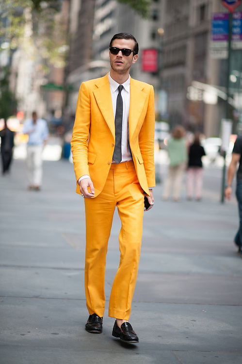 Man in a Yellow Suit, Outside Victoria Beckham