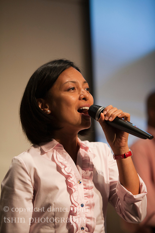 Vocalist Gigi Gluck of the worship team leading the Evangelical Church of Bangkok (ECB) during the Easter service on 24 April 2011 in Bangkok, Thailand